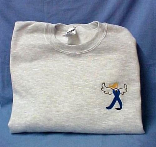 Blue Ribbon Angel Sweatshirt 2XL Colon Cancer Awareness Gray Crew Neck New