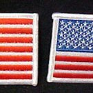 American Flag Emblem Patriotic Red White Blue Stars Stripes Patch Set of 2