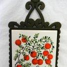 Cranberry Ceramic Tile Green Cast Iron Hot Plate Mat Trivet Japan Vintage