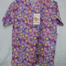 Print Scrub Top Medium Purple Bright Flowers 2 Pkt Top O'Lico Cotton Blend New