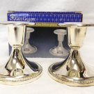 Beaded Edge Candle Candlestick Holders Silver Plated Gift Gallery Set of 2