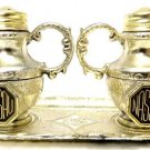 Vintage Souvenir Salt Pepper Shaker Nassau Silver Gold Tea Pot Tray Set Japan