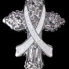 Gray Silver Ribbon Cross Pin Cancer Cause Awareness Religious Church Christian