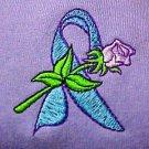 Teal Ribbon Hoodie M Lilac Rose Lavender Sweatshirt Cancer Awareness Unisex New