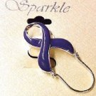 Relay for Life Purple Ribbon ID Badge Eyeglass Holder Pin Jewelry Lupus New