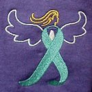 Ovarian Cancer Teal Ribbon Angel 2XL Purple S/S T Shirt Unisex Poly Cotton New