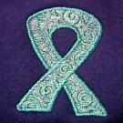 Teal Scrolled Ribbon Hoodie 2XL Ovarian Cancer Awareness Purple Sweatshirt New