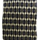 Silk Men's Neck Tie Harbour Classics Navy Blue Tan Gold Geometric Oval Diamond