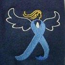Colon Cancer Blue Ribbon Angel Medium Navy S/S Crew Neck T Shirt Unisex New