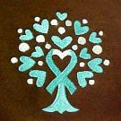 Teal Ribbon Hoodie Large Awareness Heart Tree of Life Brown Sweatshirt New