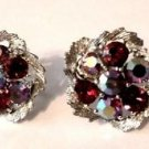 Red Rhinestone Silver Plated Screw Back Earrings Costume Fashion Vintage