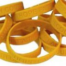 Childhood Cancer Awareness Bracelets Lot of 100 Gold Silicone Bands IMPERFECT
