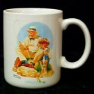 Norman Rockwell 1987 Catching The Big One Mug Japan Vintage Collectible