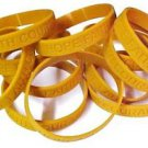 Childhood Cancer Awareness Bracelets Lot of 100 Gold Silicone Jelly Wristbands