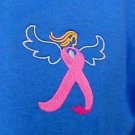 Breast Cancer Awareness Pink Ribbon Angel Royal Blue Embroidered T Shirt L New