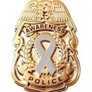 Gray Awareness Ribbon Pin Police Badge Security Sheriff Cancer Causes Gold New