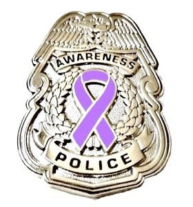 Lavender Awareness Ribbon Pin Badge Police Security Sheriff Cause Silver New