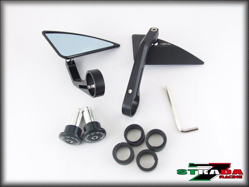 Strada 7 Black Triangle Handle Bar End Mirrors Ducati 1199 Panigale / S Tricolor