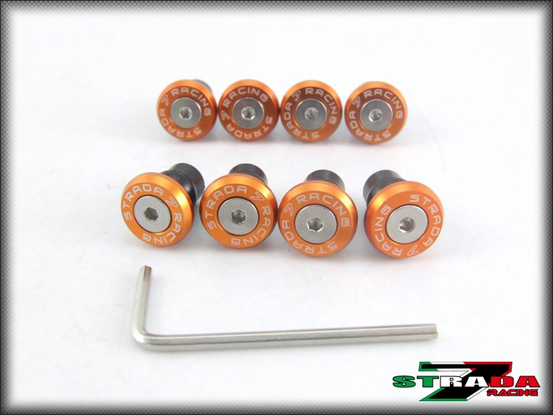 Strada 7 Racing Windscreen Bolts M5 Wellnuts Set Yamaha R6S USA VERSION Orange