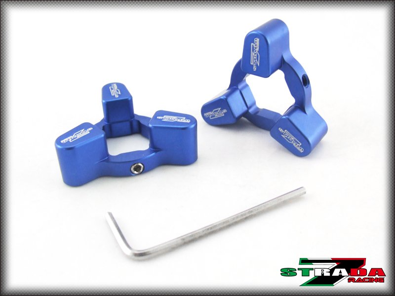 Strada 7 Racing 17mm CNC Fork Preload Adjusters Ducati Streetfighter S Blue
