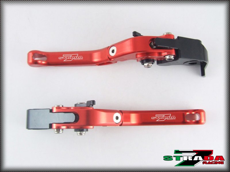 Strada 7 CNC Short Folding Adjustable Levers Suzuki Bandit 650S 2015 Red