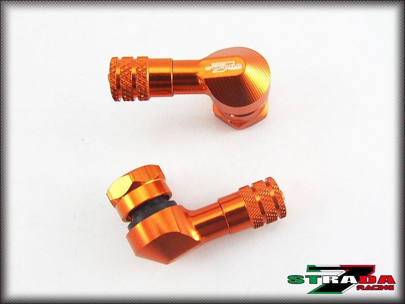 "Strada 7 83 Degree 8.3mm 0.357"" Inch CNC Valve Stems KTM RC8 R 2009-2014 Orange"