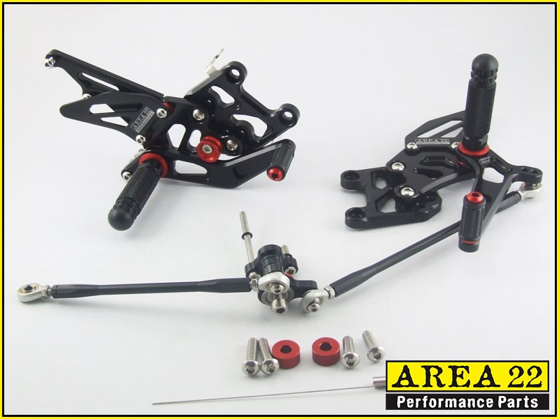 2007-2013 Honda CBR600RR Area 22 CNC Adjustable Rear Sets Footpeg Black Rearsets