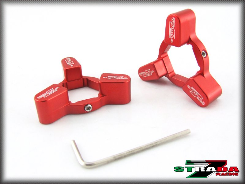 Strada 7 22mm Front Fork Pre-load Adjusters Ducati Hypermotard 1100/S/EVO Red