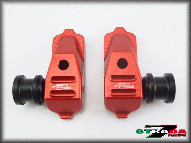 Strada 7 Racing CNC Swingarm Spool Adapters / Mounts For Honda CBR500R - Red