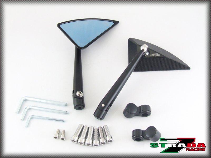 Strada 7 CNC Black Triangle Handle Bar Mirrors BMW K1300 S / R / GT 2009 - 2015