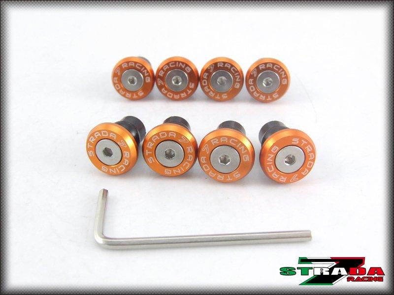 Strada 7 Racing CNC Windscreen Bolts M5 Wellnuts Set Yamaha XJ6 DIVERSION Orange