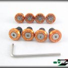 Strada 7 Racing CNC Windscreen Bolts M5 Wellnuts Set Yamaha XJ6 DIVERSION Orange