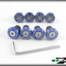 Strada 7 Racing CNC Windscreen Bolts M5 Wellnuts Set Yamaha XJ6 DIVERSION Blue