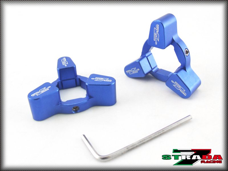 Strada 7 Racing 19mm CNC Front Fork Preload Adjusters Buell 1125R XB12R Blue