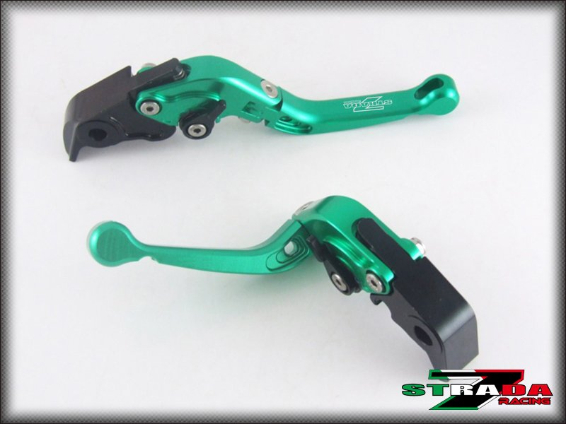Strada 7 CNC Short Folding Adjustable Levers Yamaha FZ8 2011 - 2015 Green
