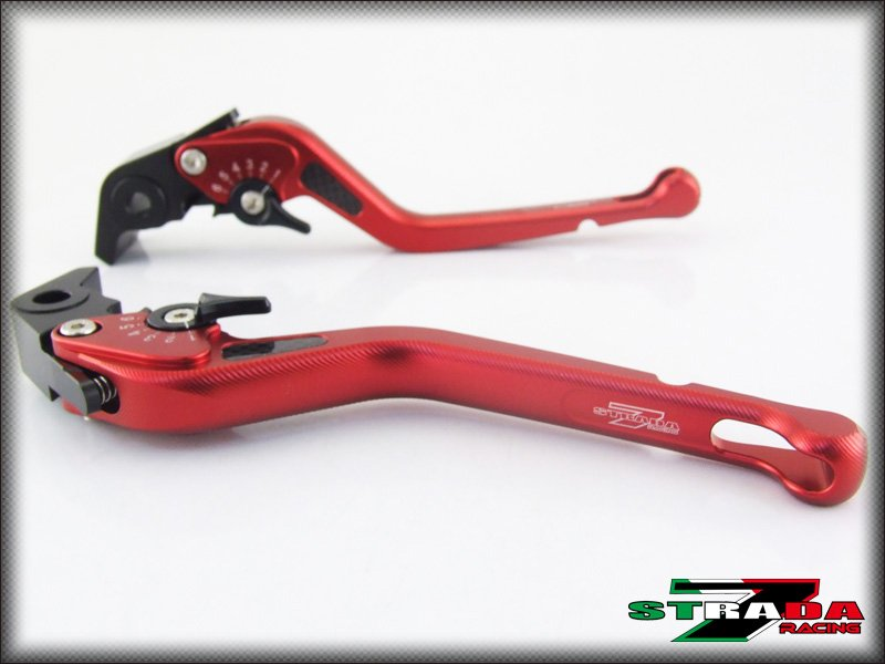 Strada 7 CNC Long Carbon Fiber Levers Suzuki GSXR1000 2009 - 2014 Red