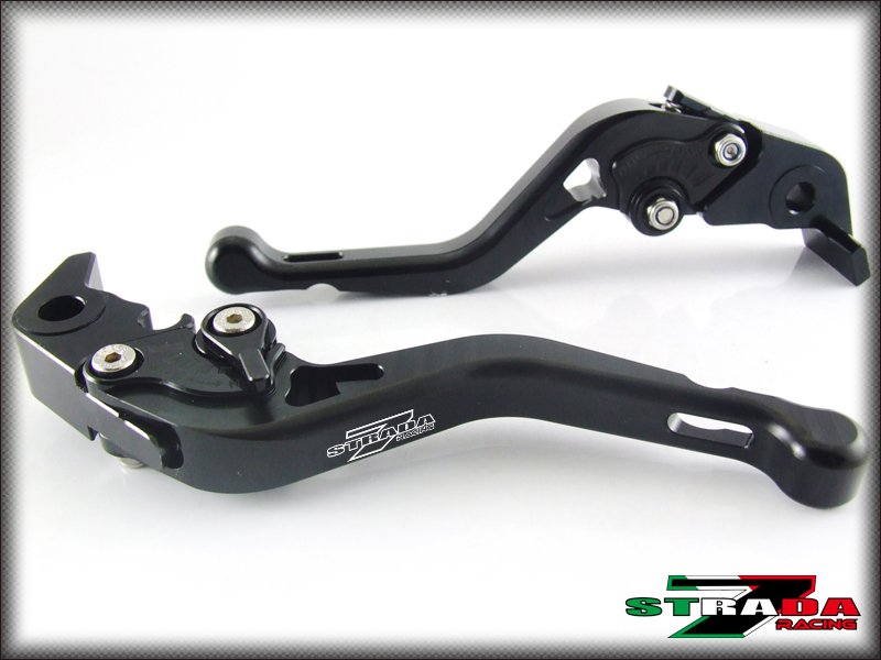 Strada 7 CNC Shorty Adjustable Levers Kawasaki ZX6R ZX636R ZX6RR 00- 2004 Black