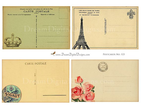Vintage French Postcard backs - Paris Digital Collage Sheet, French Ephemera
