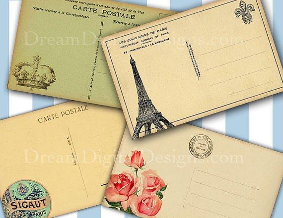 Paris Postcard backs Printable Collage Sheet Tags Scrapbooking Vintage French