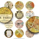 Paris Map 2 inch Circles , Digital Collage Sheet, Vintage French Ephemera