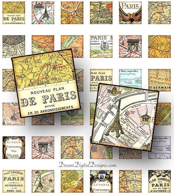 Paris Map 1 x 1 Squares, Digital Collage Sheet, France Maps