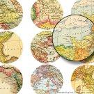 Printable Map, 2 inch Circles, Digital Collage Sheet, Digital Circle