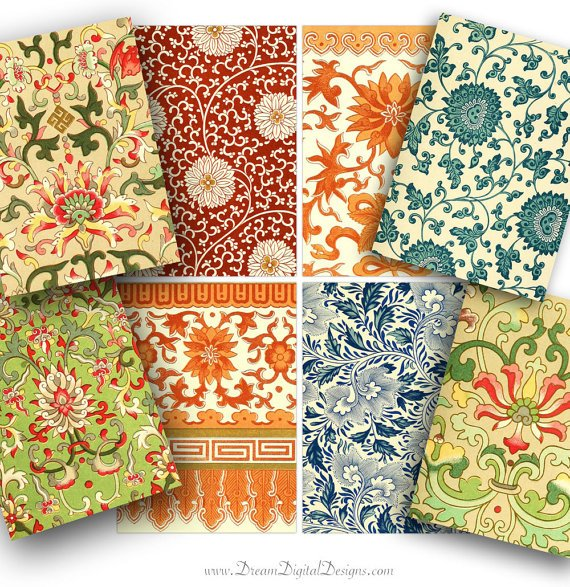 Vintage Floral Wallpaper , Collage Sheet Gift Tags, Colorful, Tags