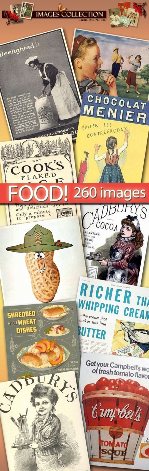 Digital images FOOD collection vintage print