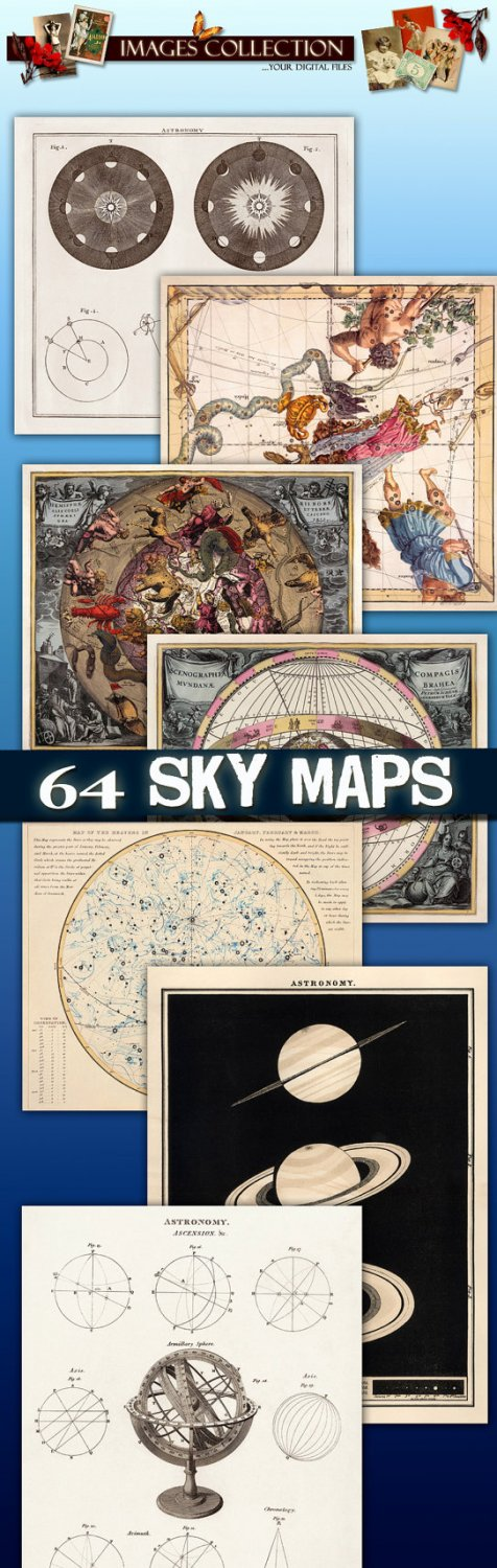 Img. Antique Maps of the Sky collection card space old ancient ephemera card