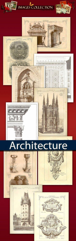 Digital collection Antique Architecture - cards decorative