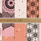 Digital Paper-Pad Thai-Org, Pink, Cream , Black Flowers, Polka Dots, Fish Scales