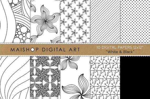 Digital Paper-Wh & Black-papers AbstractFlowersStripesDotsBackgroundsCardsPrinting