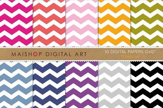 Digital Paper - Chevron - Pink,Red,Org,Grn,Blu,Purp,Gray ,Black Chevron Pattern