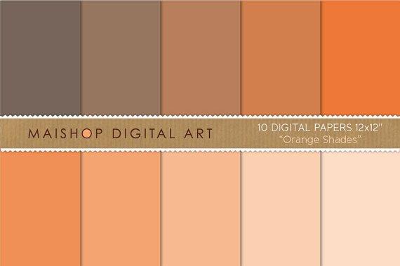 Solid Color Digital Paper - Orange Shades